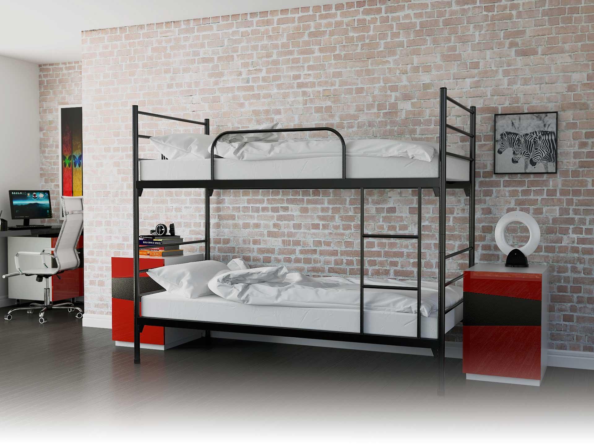 łóżko Metalowe Piętrowe Rozkładane 90x200 Z Materacem