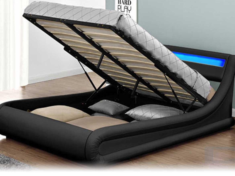 łóżko Tapicerowane Do Sypialni 160x200 138 Led Czarne