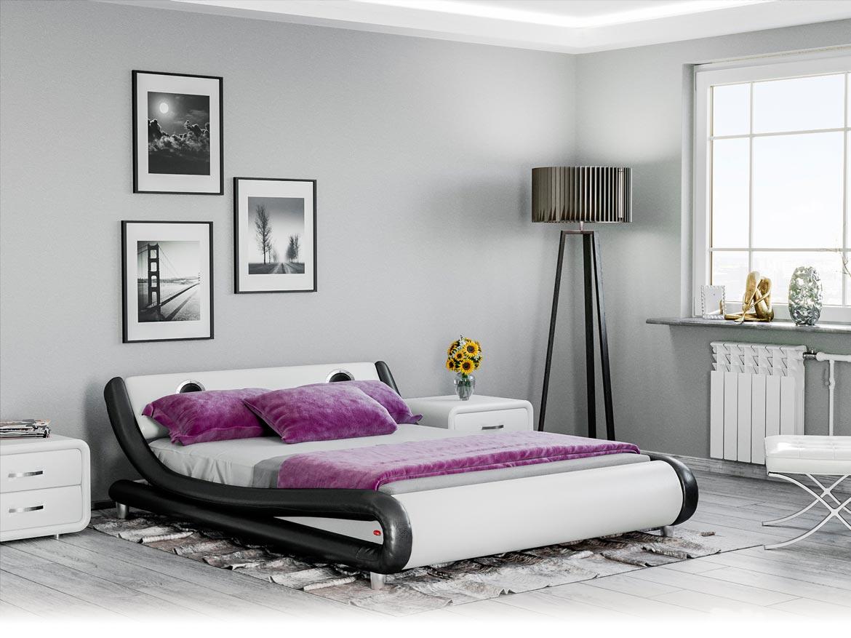 łóżko Tapicerowane Do Sypialni 160x200 114 Biało Czarne Z Głośnikami