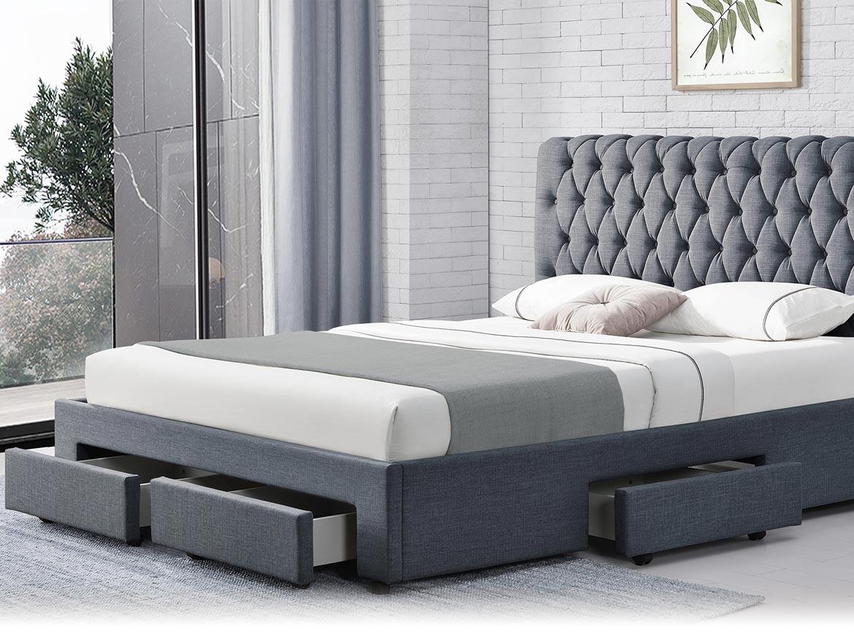 łóżko Tapicerowane Do Sypialni 160x200 1217d Ciemno Szare Sklep Mwm