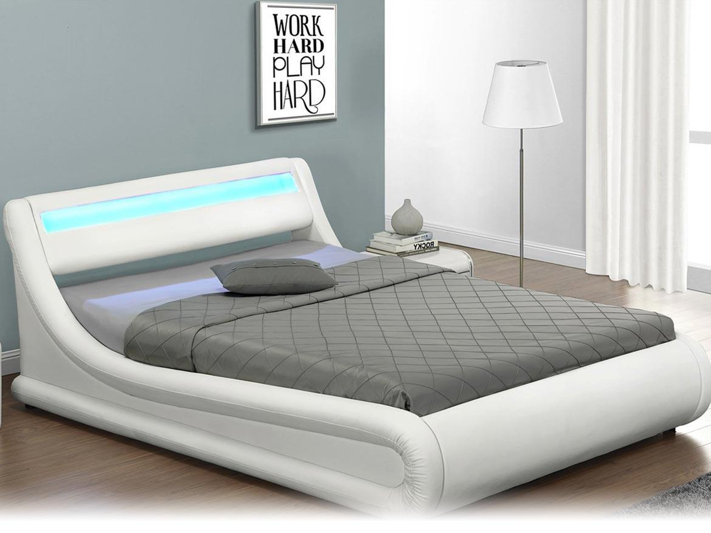 łóżko Tapicerowane Do Sypialni 160x200 138 Led Białe