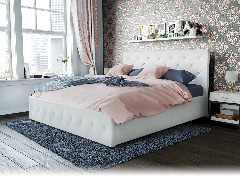łóżko Tapicerowane Do Sypialni 140x200 Sfg007a Białe