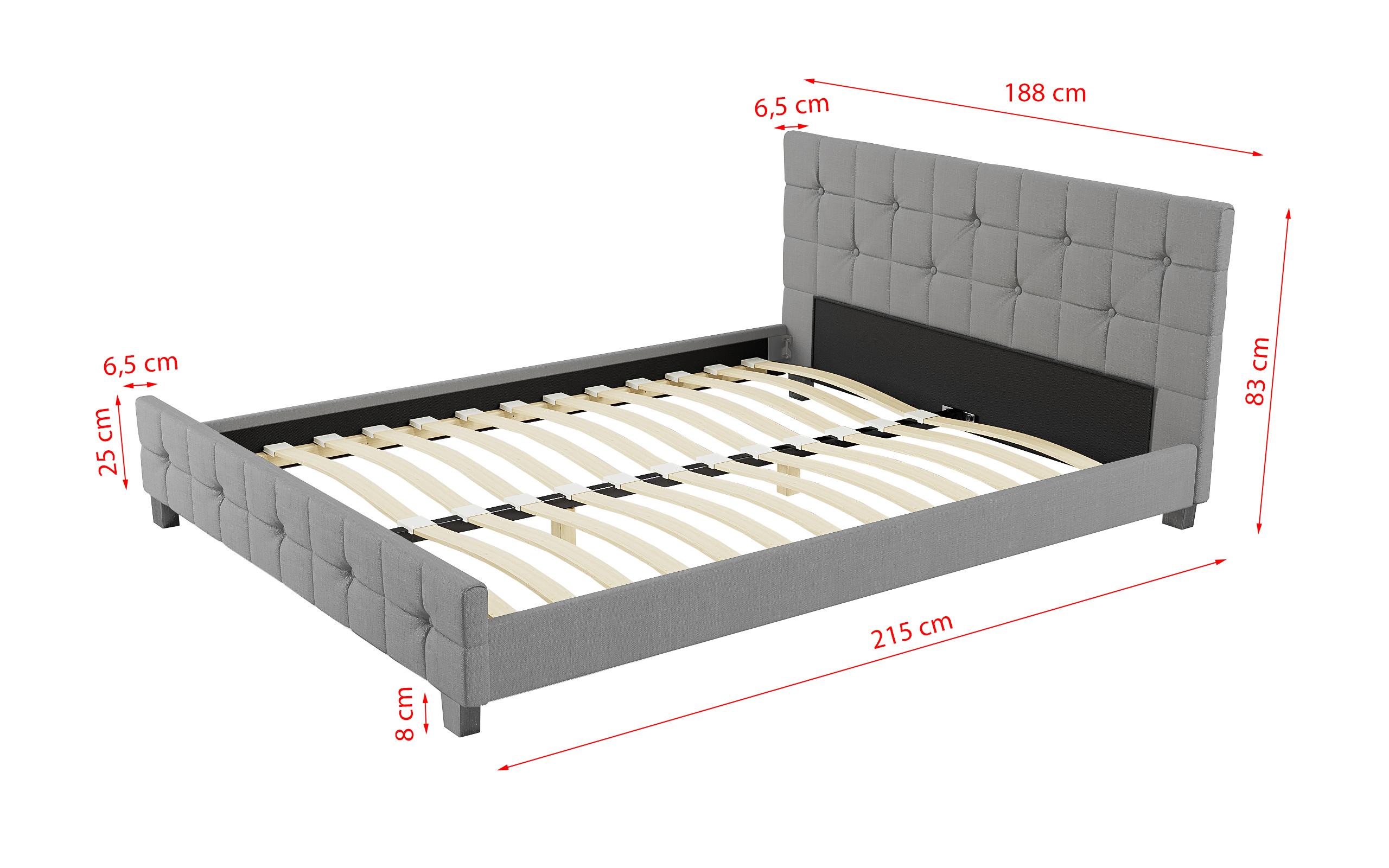 łóżko Z Materacem Tapicerowane 180x200 893 Jasnoszare