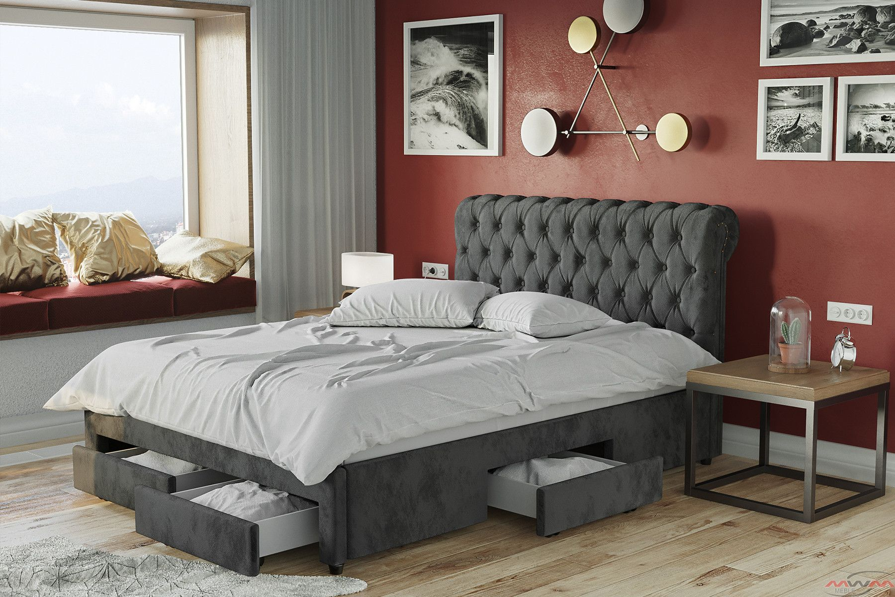 łóżko Tapicerowane Do Sypialni 180x200 1217d Welur