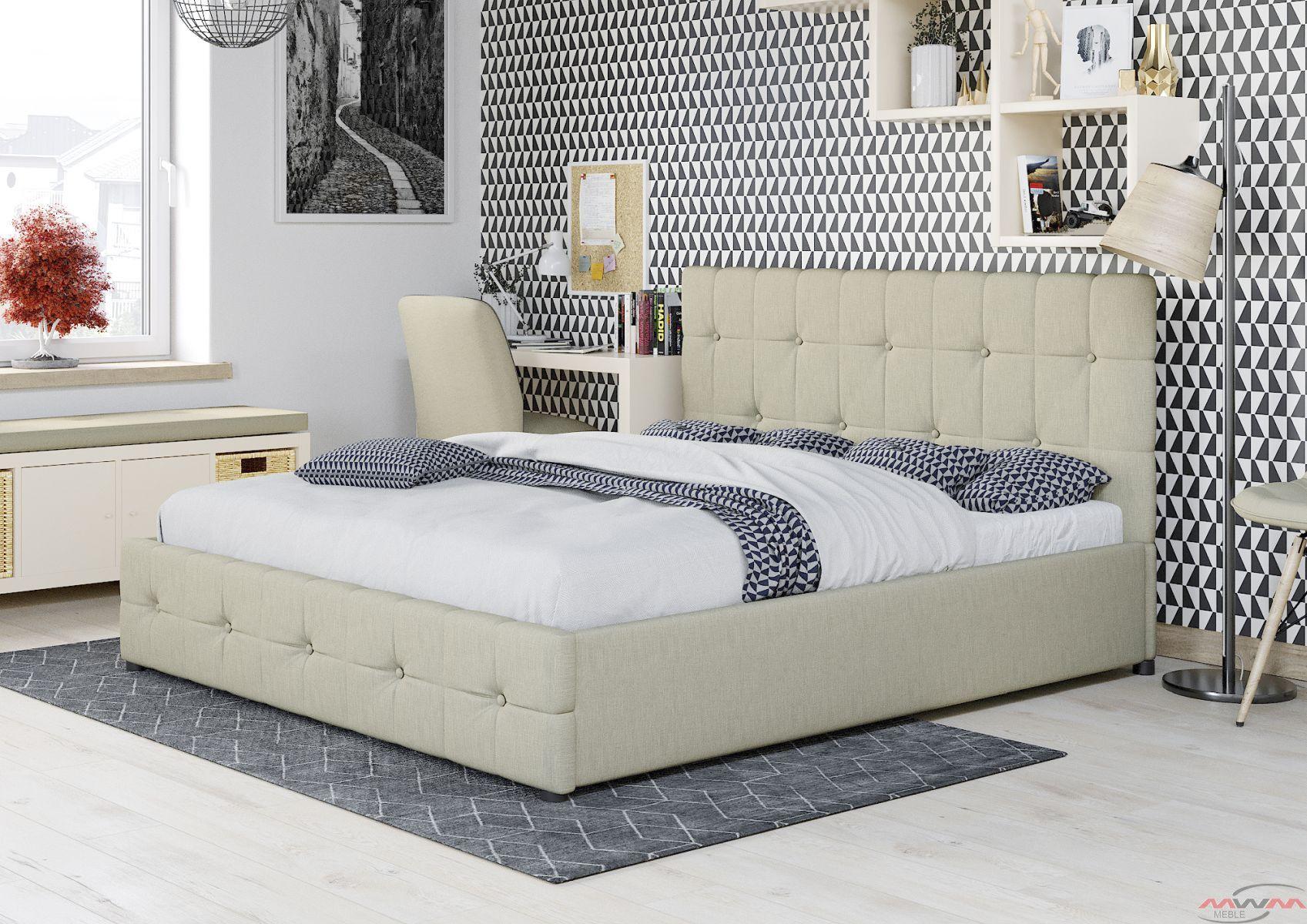 łóżko Tapicerowane Do Sypialni 160x200 Sfg012c Beż