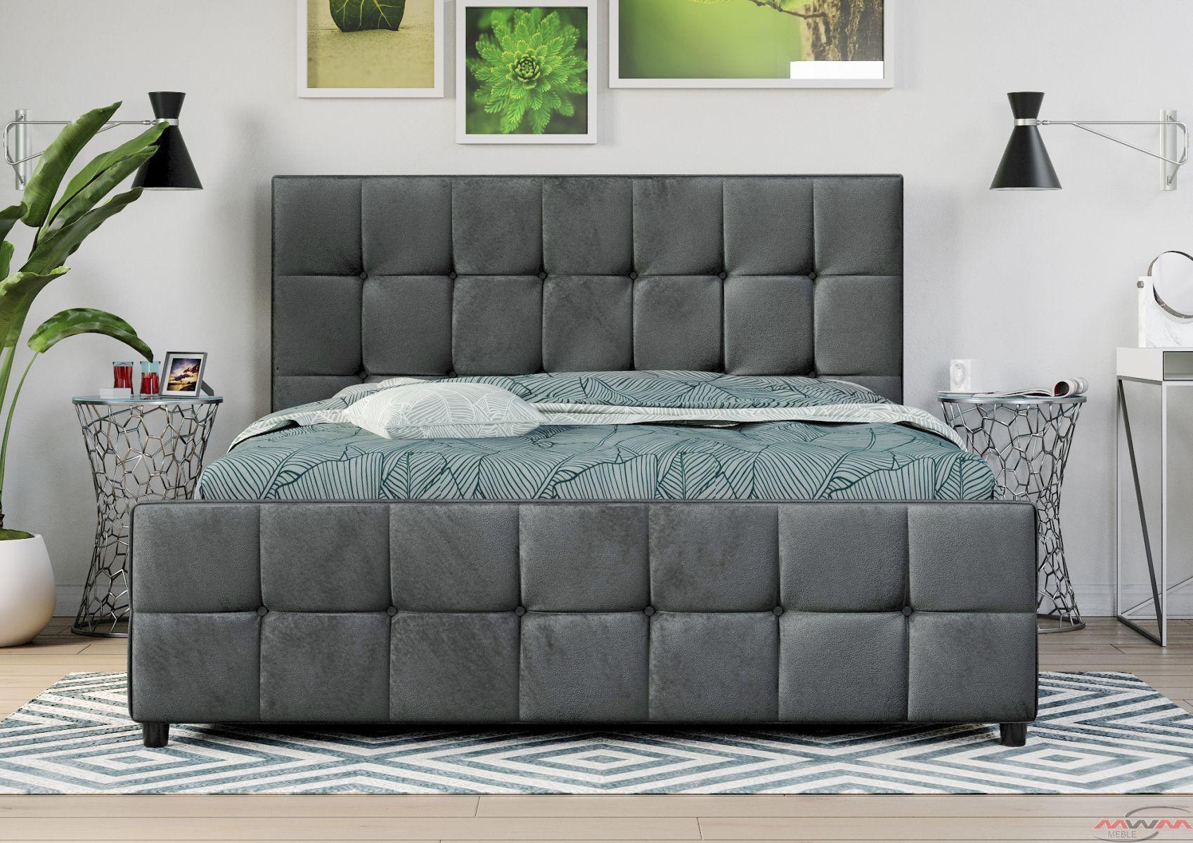łóżko Tapicerowane Do Sypialni 140x200 Sfg015 Popiel Welur