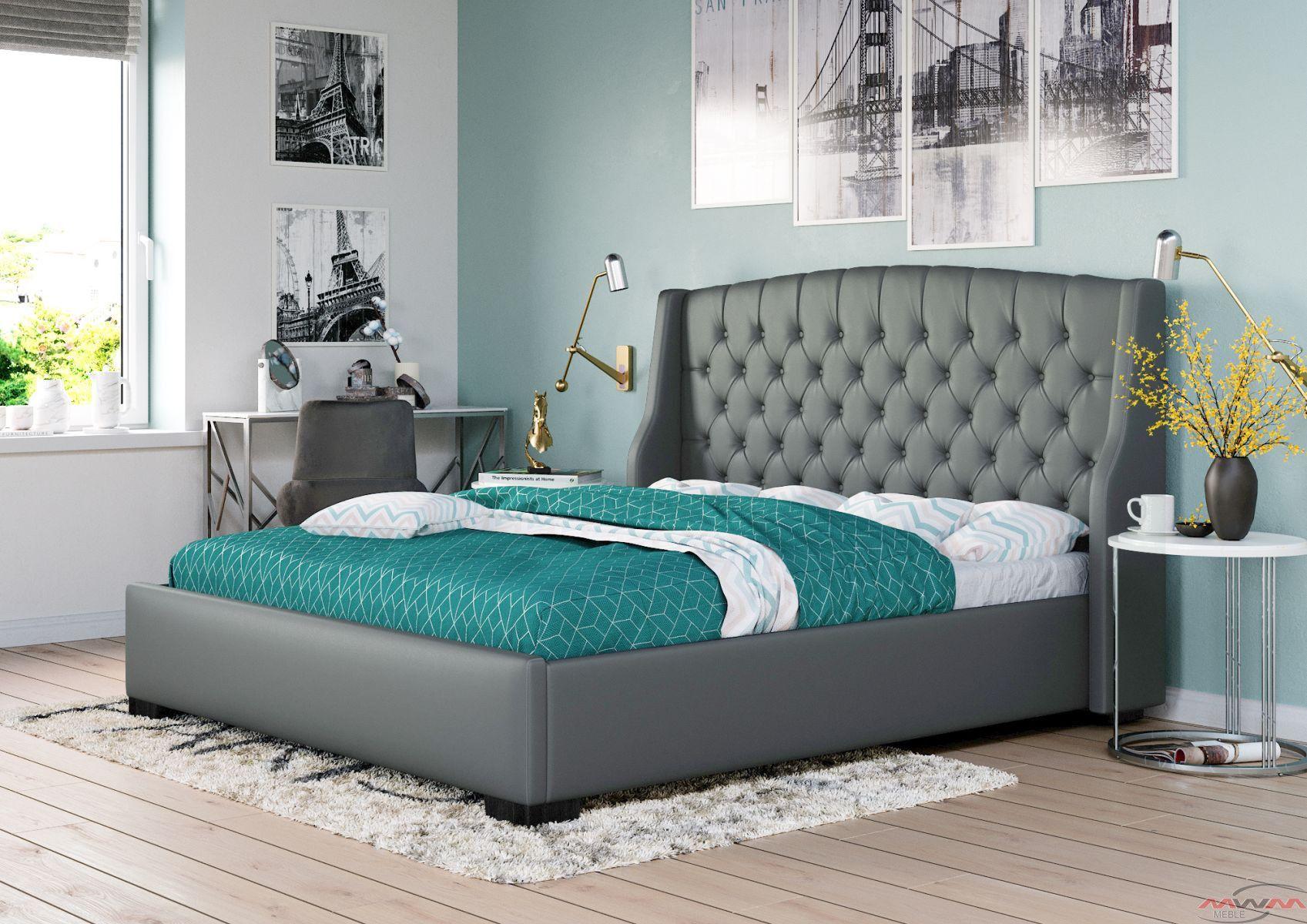 łóżko Tapicerowane Do Sypialni 160x200 1177 Szare