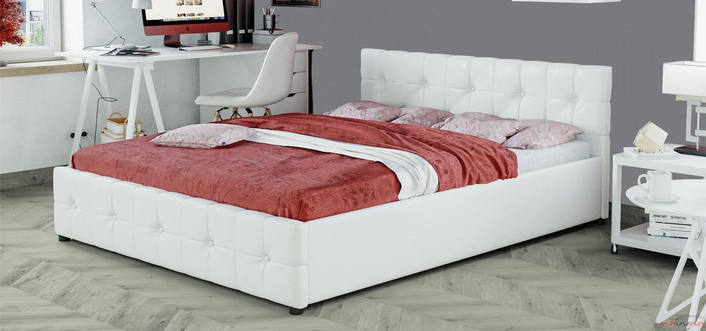 łóżko Z Materacem Tapicerowane 140x200 Sfg012a Białe