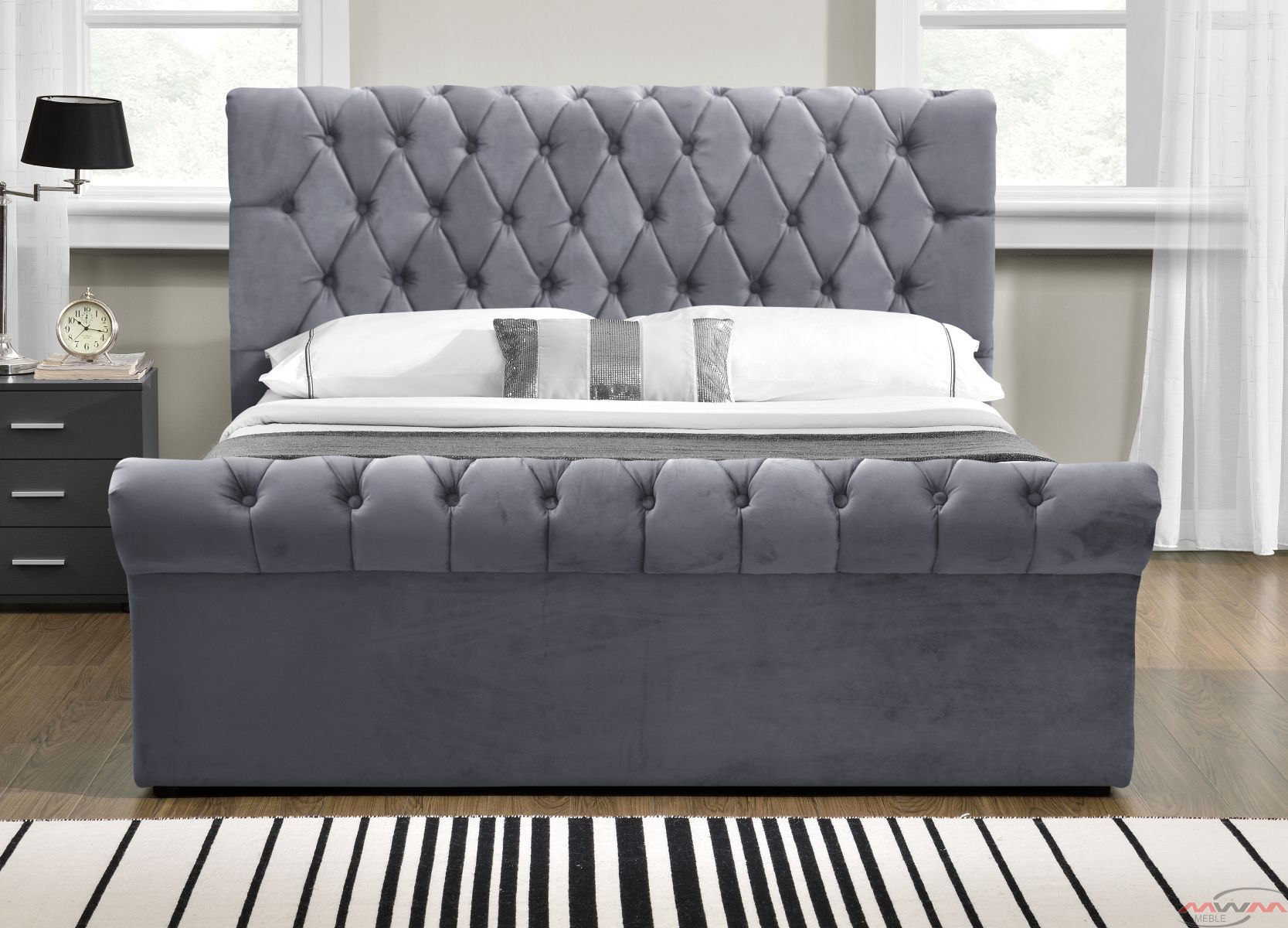 łóżko Tapicerowane Do Sypialni 140x200 1298g Welur