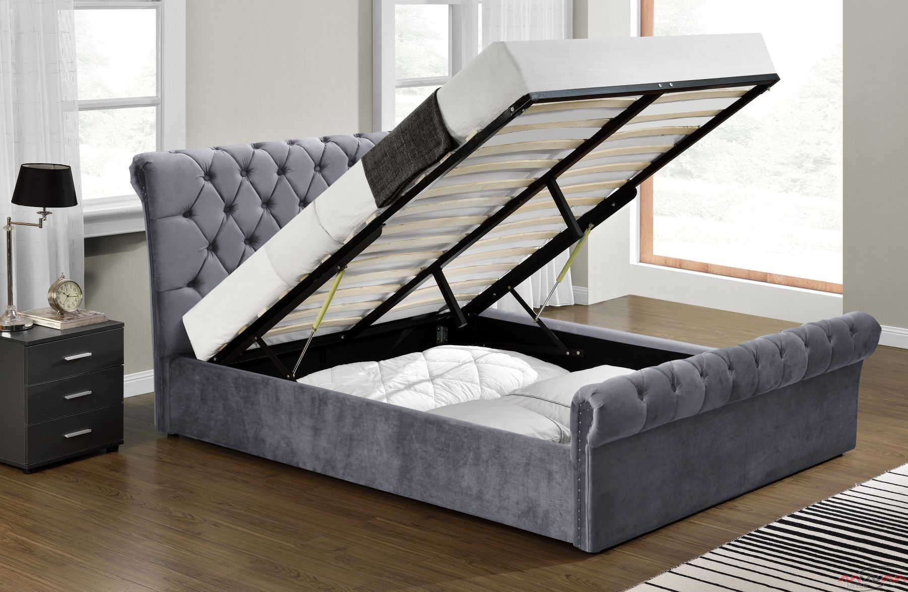 łóżko Tapicerowane Do Sypialni 160x200 1298g Welur