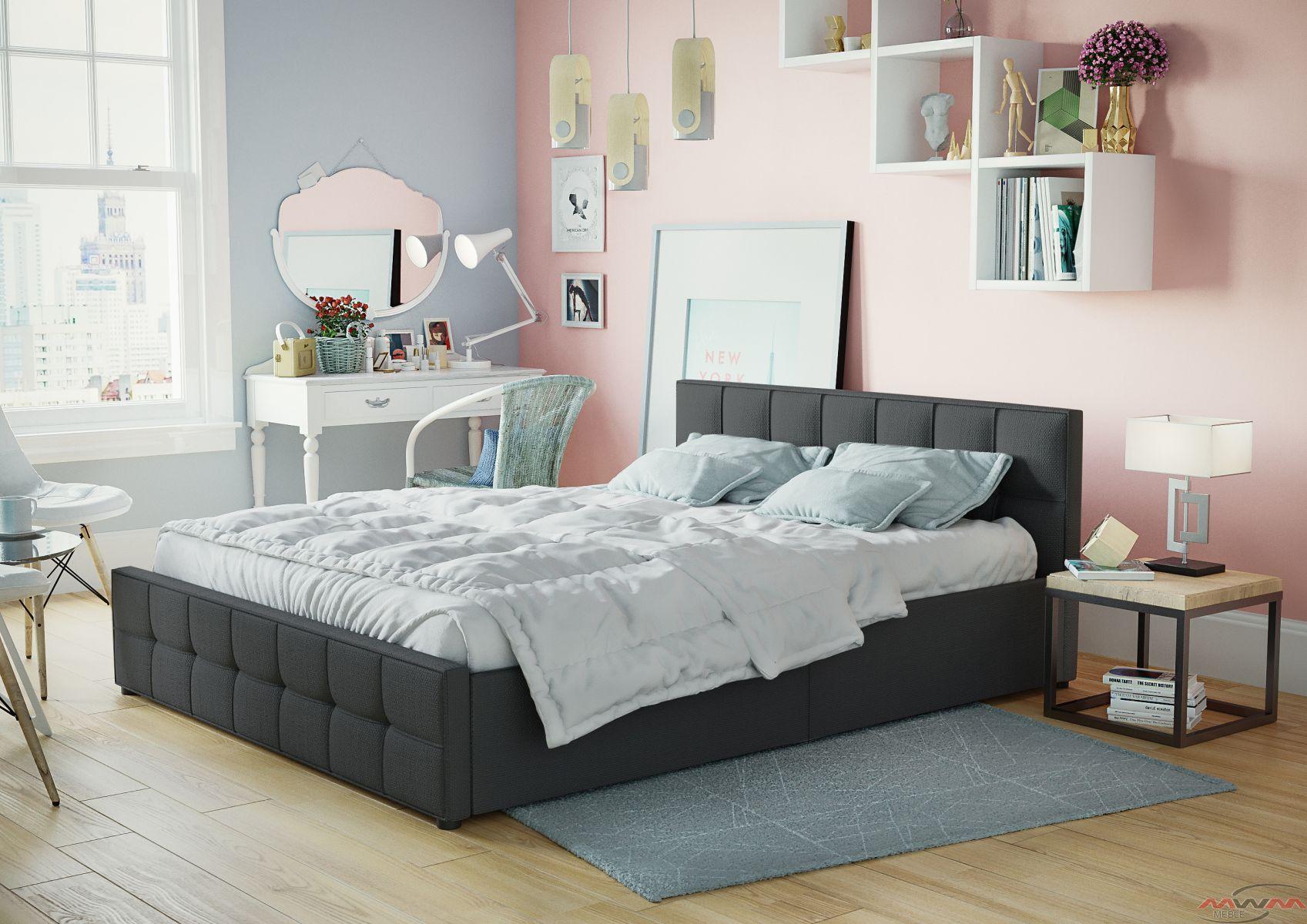łóżko Tapicerowane Do Sypialni 160x200 Sfg004 Czarne