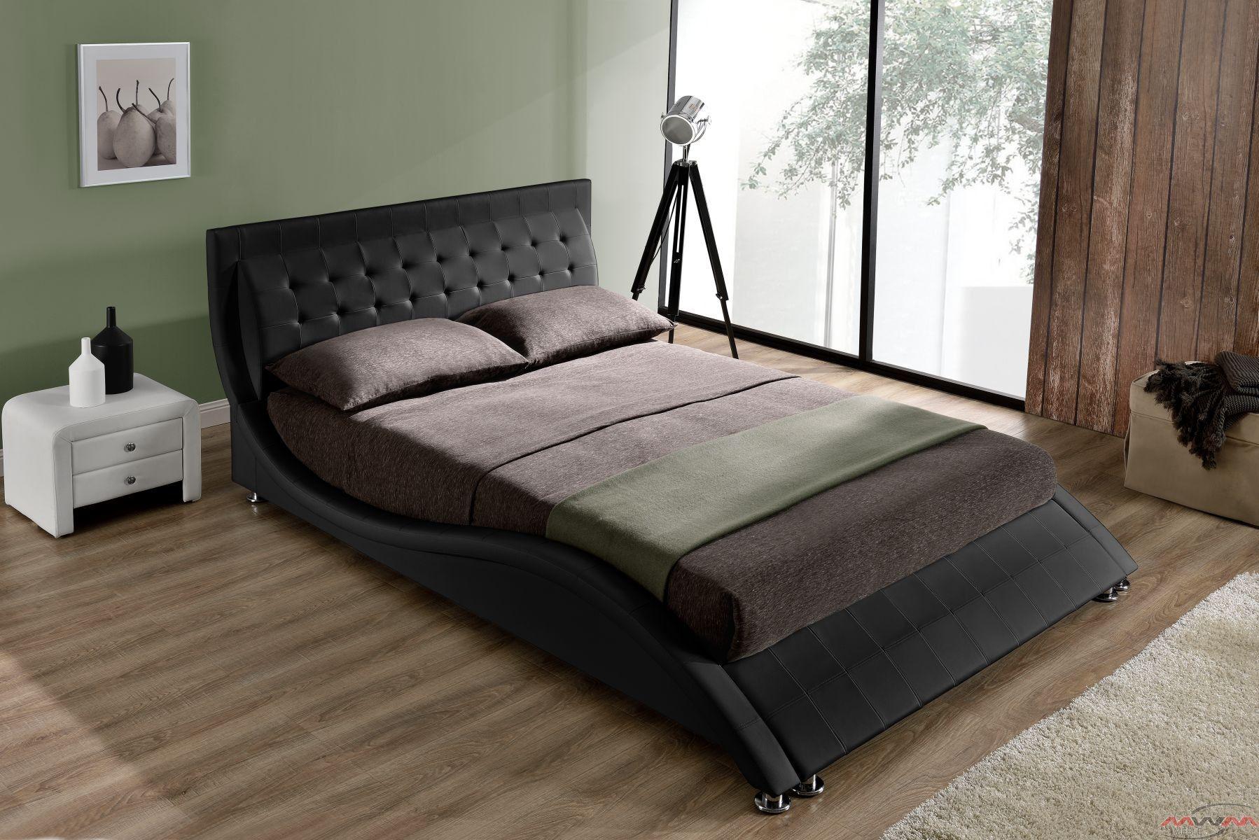 łóżko Tapicerowane Do Sypialni 140x200 1866 Czarne