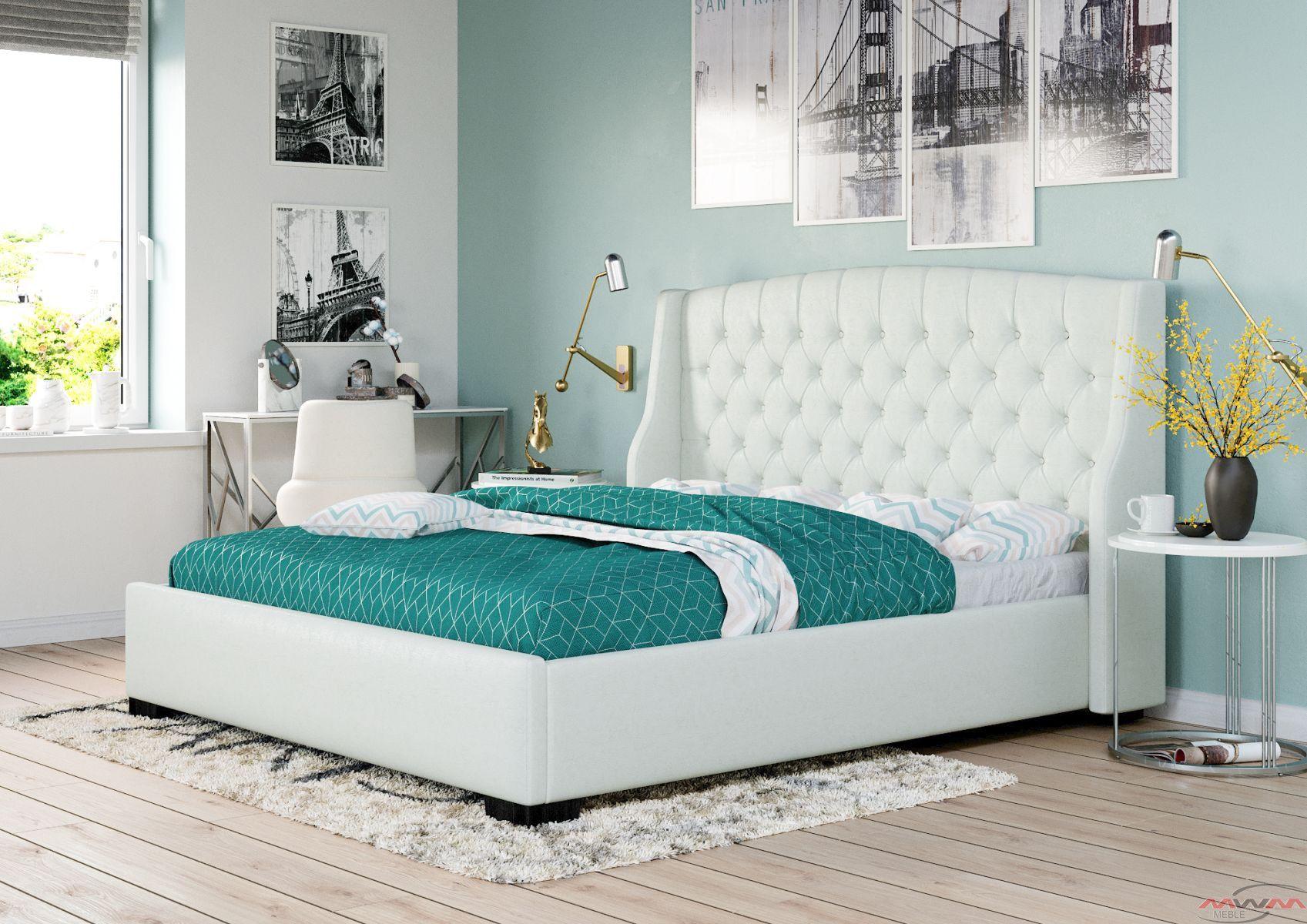 łóżko Tapicerowane Do Sypialni 180x200 1177 Białe