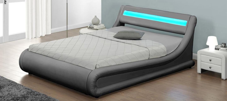 łóżko Tapicerowane Do Sypialni 160x200 138 Led Popiel