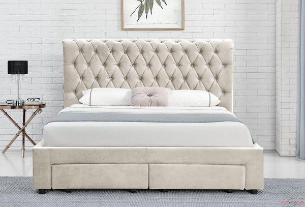 łóżko Tapicerowane Do Sypialni 140x200 1217d Beż Welur