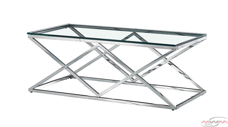 Stolik Kawowy Metalowy Chrom Szkło Cs 06 90x60 Cm